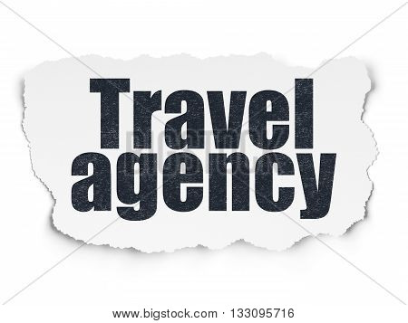 Vacation concept: Painted black text Travel Agency on Torn Paper background with Scheme Of Hand Drawn Vacation Icons