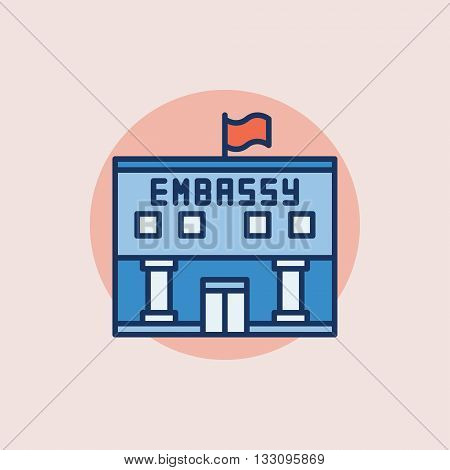 Embassy flat icon - vector colorful government building symbol or sign on pink background