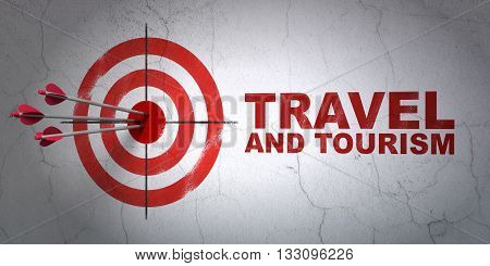 Success vacation concept: arrows hitting the center of target, Red Travel And Tourism on wall background, 3D rendering