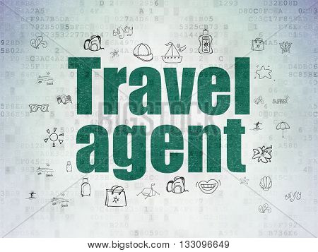 Vacation concept: Painted green text Travel Agent on Digital Data Paper background with  Hand Drawn Vacation Icons