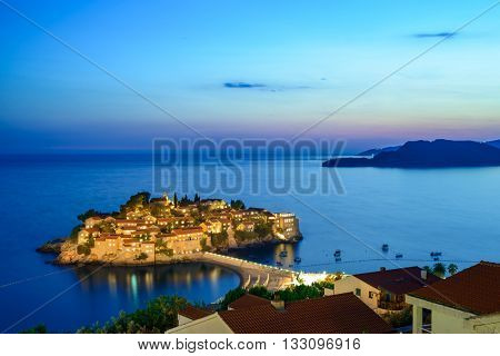Beautiful Island and Luxury Resort Sveti Stefan in Budva at Night, Montenegro. Balkans, Adriatic sea, Europe.