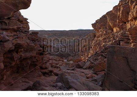 Red canyon around Dahab Sinai Egypt, desert
