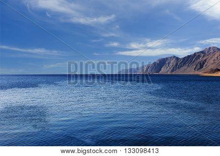 Red sea with clouds aroun Dahab, Sinai, Egypt