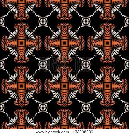 Abstract superior seamless pattern with silver and copper decorative ornament on black background