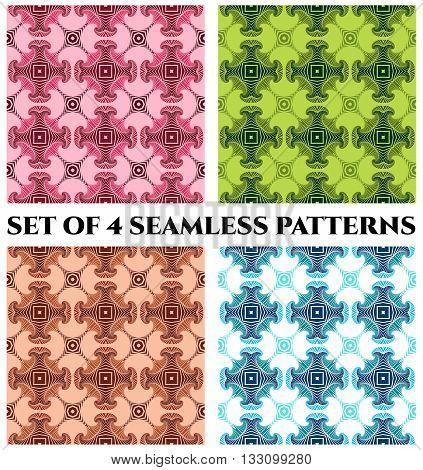 Abstract modern seamless patterns with fractal decorative elements of green vinous pink blue white and brown shades