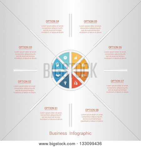 Pie infographic template with text areas on eight positions parts.