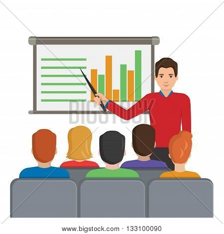 Flat vector illustration of a man with a pointer next to the board with analytical data making a report for the audience at the conference meeting, lecture, etc.