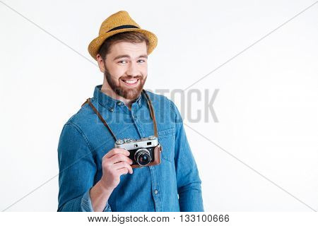 Close-up portrait of a smiling handsome hipster man isolated on the white background