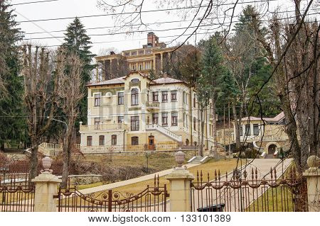 Sanatorium-hotel complex behind the fence. Architecture and attractions of the city of Kislovodsk.