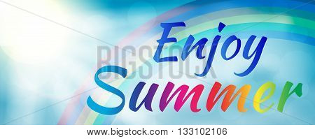 Abstract enjoy summer banner style with rainbow. Enjoy summer banner. Summer season. Summer time. Happy summer. Summer day. Summer design. Summer vector. Summer text. Summer lettering. Summer art. Summer decoration. Summer phrase.