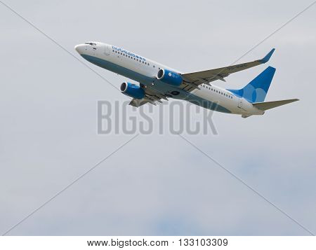 Moscow Region - June 4 2016: A large passenger plane Boeing 737-8LJ airlines victory takes off at Vnukovo airport under overcast June 4 2016 Moscow Region Russia