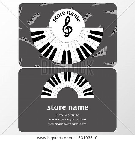 Cut-away for the presentation of musical store. advertising design in style of music with the clipboard and fashion presentation. vector