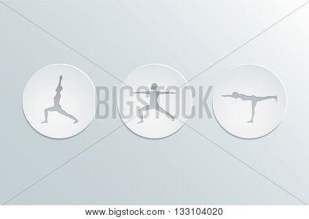 Icons yoga asanas. Virabhadrasana set. Warrior poses. Cut-out paper Design modern color and stylish icons set. Vector Illustration eps 10