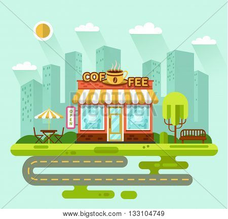 Vector flat style illustration of City landscape with nice coffee shop building, street with road, bench, trees, umbrella, table and chair. Signboard with big hot cup of coffee.
