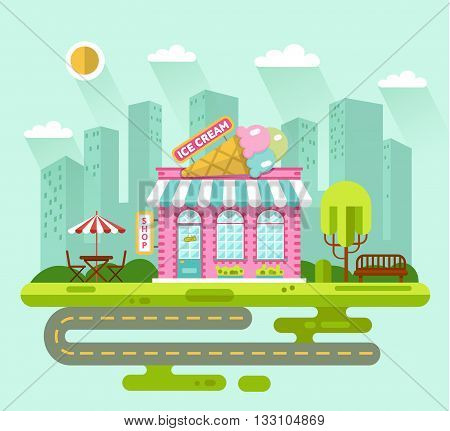 Vector flat style illustration of City landscape with nice ice cream shop building, street with road, bench, trees, umbrella, table and chair. Signboard with big tasty ice cream cone.
