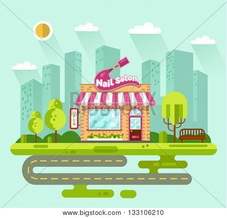 Vector flat style illustration of City landscape with nice nail salon building, street with road, bench, trees and sun. Signboard with big stroke of nail polish brush. Manicure or pedicure salon.