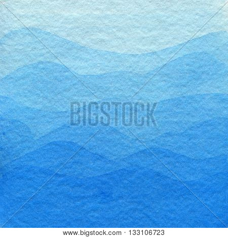Blue watercolor background light colors in gradient. Hand drawn abstract background in blue gentle colors looks like mountains.