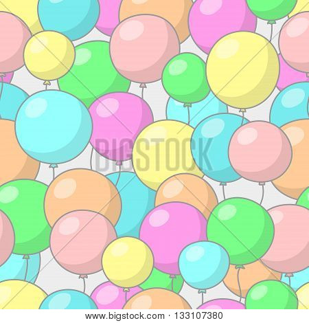 Seamless festive pattern with multicolored balloons, on gray background