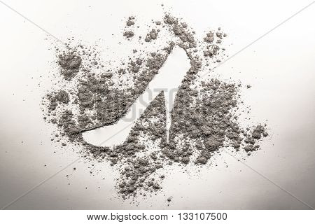 High heel sign drawing made in grey grey ash sand dust