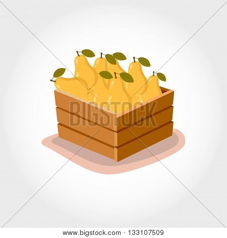 Box With Fresh Pears. Eco Products. Cartoon Style. Vector Illustration.