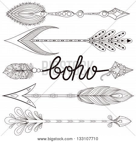 Bohemian Arrows set with henna feathers. Hand drawn zentangle Arrows for adult coloring pages, art therapy, ethnic patterned t-shirt print, Boho chic tribal style. Doodle Illustration, tattoo design.