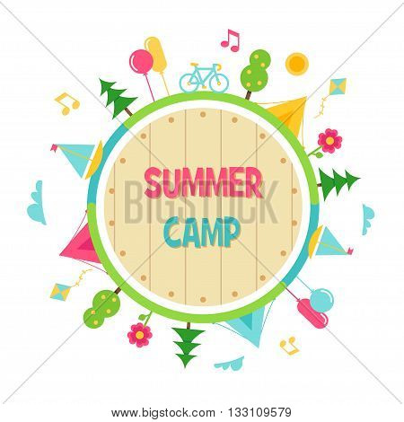 Kids Summer Camp and Outdoor Activities Circle Vector Sign