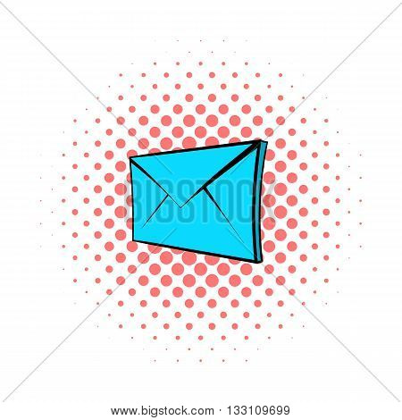 E-mail icon in pop-art style on dotted background. Internet and message symbol