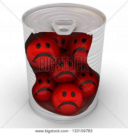 Red angry emoticons in a tin can. Concept. Isolated. 3D Illustration