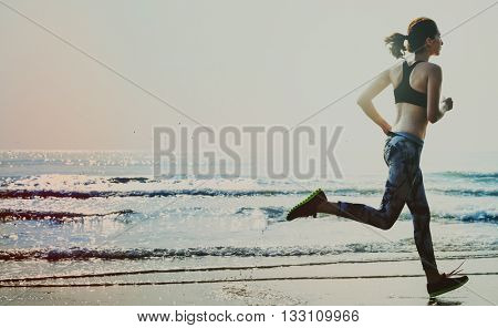 Active Action Beach Coast Health Jogging Summer Concept