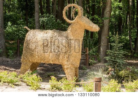 Straw decorative ram standing in the woods and fenced rope