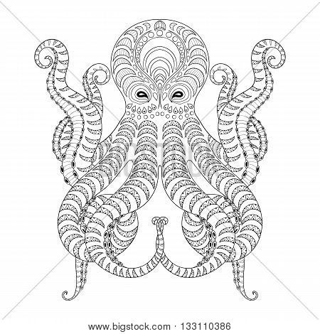 Tattoo Octopus. Hand drawn zentangle tribal Octopus for adult anti stress coloring pages, ethnic t-shirt print. Boho, bohemian style. Isolated patterned illustration in doodle, henna tattoo design.