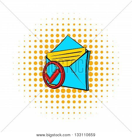 Delivered e-mail icon in pop-art style on dotted background. Internet and message symbol
