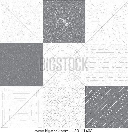Set of retro grange vector background for design. Retro round frame, square frame, linear frame. Vector background with slanted lines, divergent lines. Vintage grange black and white texture.