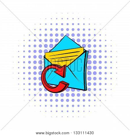 Update e-mail icon in pop-art style on dotted background. Internet and message symbol