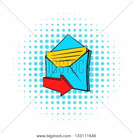 Incoming e-mail icon in pop-art style on dotted background. Internet and message symbol