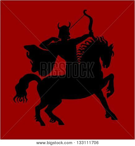 The rider on a horse and shoots from an bow