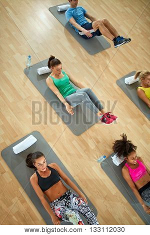 Top view- fitness class with exercisers