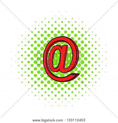 Symbol e-mail icon in pop-art style on dotted background. Internet and message symbol