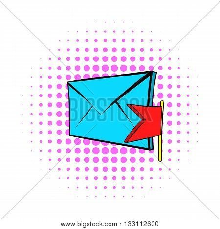 Flag e-mail icon in pop-art style on dotted background. Internet and message symbol
