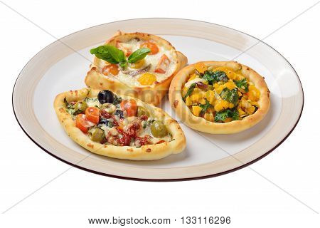 Lebanese food. Lebanese pies. Oriental dishes. Isolated
