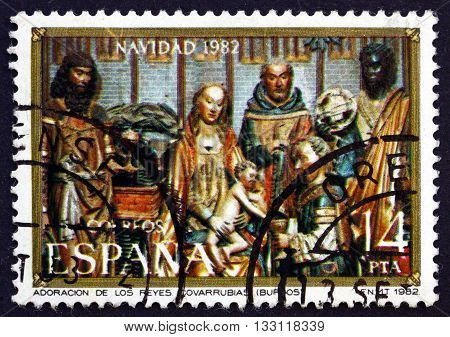 SPAIN - CIRCA 1982: a stamp printed in Spain shows Nativity Wood Carving by Gil de Siloe Christmas circa 1982