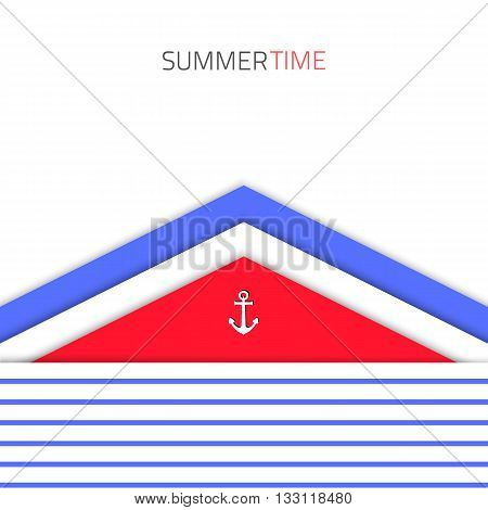 Vector material design background. Flat design layout. Material design for interface. Vector sea background. Vector blue modern design. Summer material design concept.