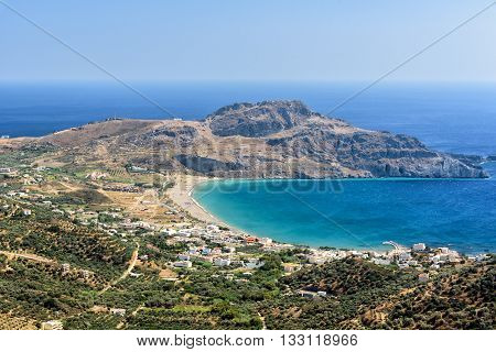 Aerial view on Plakias beach. Crete island, Greece. Plakias is a village on the south coast of the Greek island of Crete