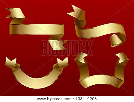 Gold ribbons set isolated on dark red background. Vector illustration