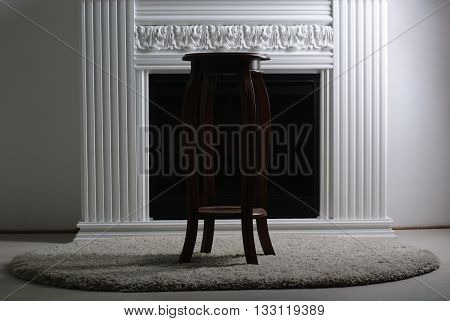 wooden stool on a white background sculpting