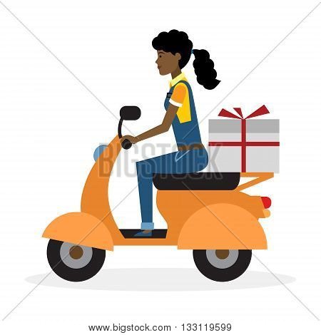 Delivery woman on scooter. Fast transportation. Isolated african american cartoon character on white background. Postwoman, courier with parcel on motorbike.