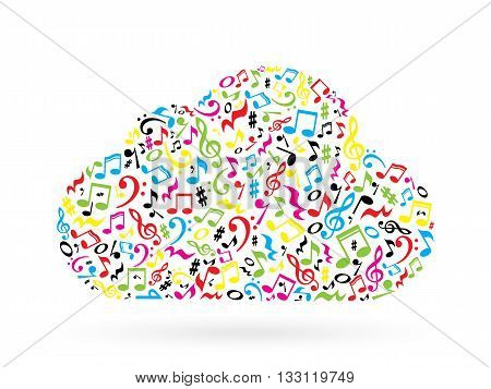 Cloud made of colorful notes on white background. Cloud made of notes. Musical art. Cloud shape decoration.