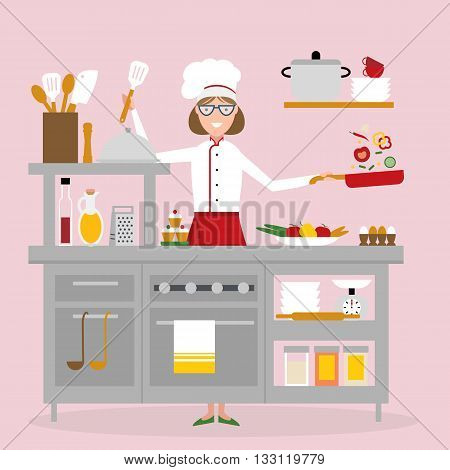 Female chef cooking on pink background. Restaurant worker preparing food. Chef uniform and hat. Table and cafe equipment.