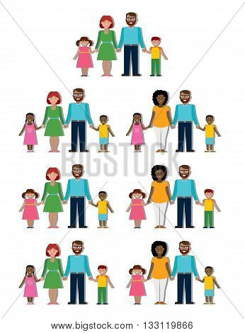 Multicultural traditional family with parents and children. Happy family. Boys and girls. African american and caucasian families. Adopted boy, girl. Smiling family. New parents. Family set.