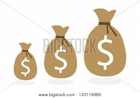 Three money bags on white background. Evolution of earning from small to big. Concept of investment and business.